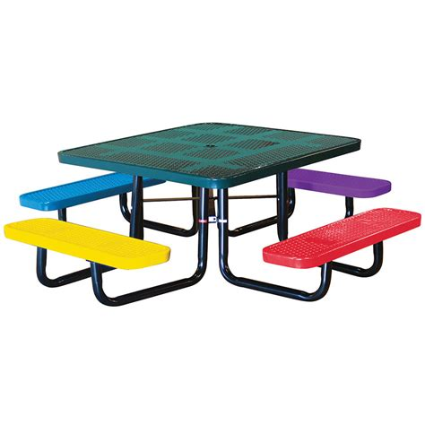 childs picnic bench 46in square perforated children s picnic table