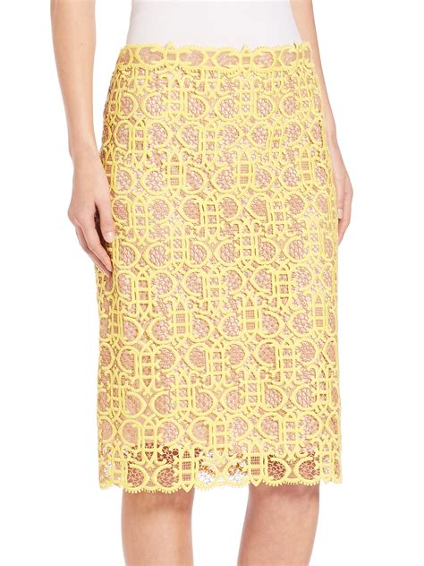 yellow pattern pencil skirt lyst emilio pucci macrame lace pencil skirt in yellow