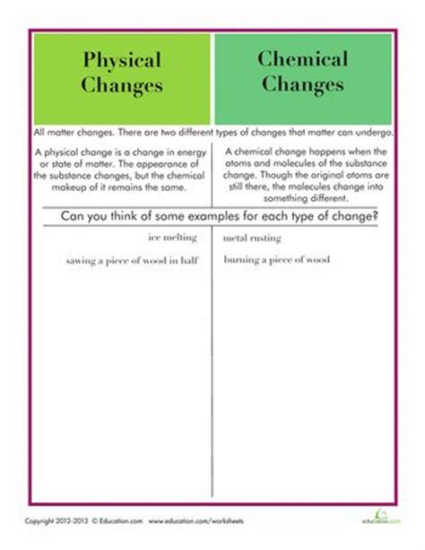 Physical And Chemical Changes Worksheet by Best 25 Chemical Change Ideas On Chemical And