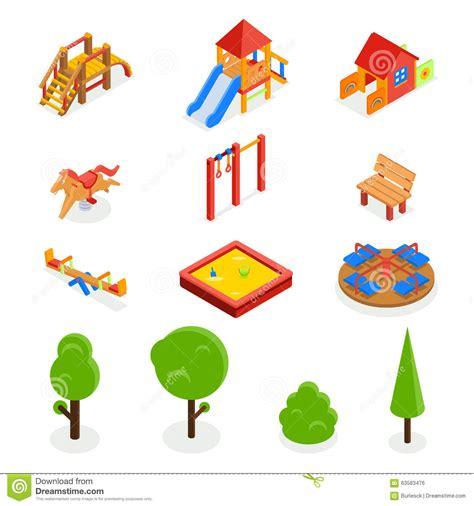 Floor Plans For Kids kids isometric 3d playground vector icon set stock vector