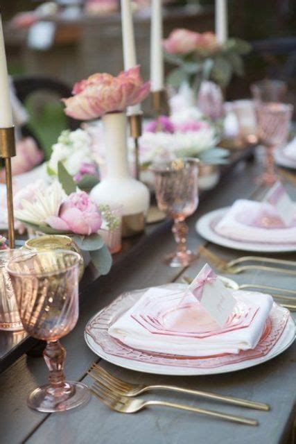 pink table settings 33 s day bridal shower ideas weddingomania