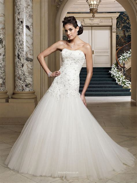 Wedding Dresses Aline Uk by Strapless Tulle And Beaded Embroidered Lace Dropped