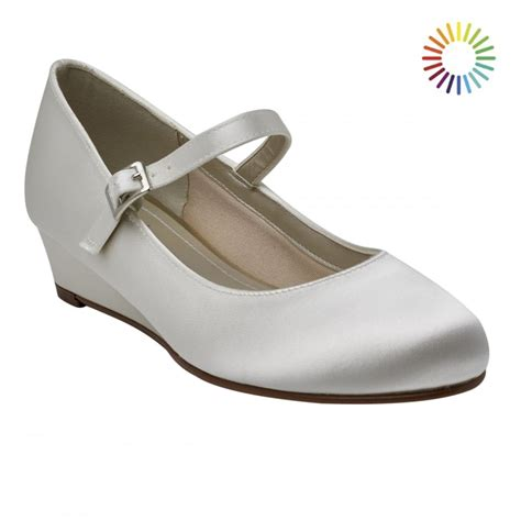 Ivory Satin Shoes by Rainbow Club Skyla Ivory Satin Wedge Shoes Shoes Co Uk
