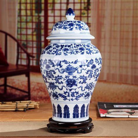 Blue And White America Style Ceramic Jars Antique Porcelain Temple Jars Home Decoration Blue And White Reproduction Ceramic Jars Antique Porcelain Temple Jars Home