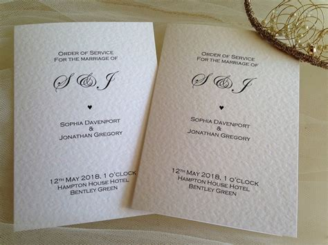wedding invitation service order of service books for weddings wedding order of service books delivery from 163 1 25 each