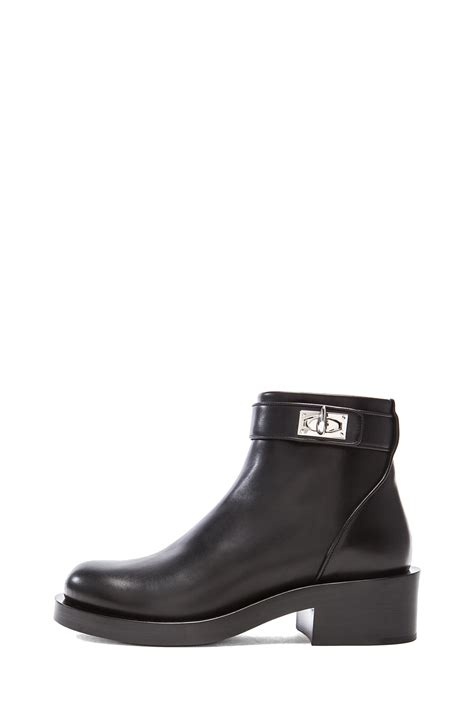 givenchy shark lock ankle leather boots in black lyst