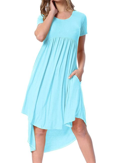 light blue pleated dress cheap light blue short sleeve high low pleated casual