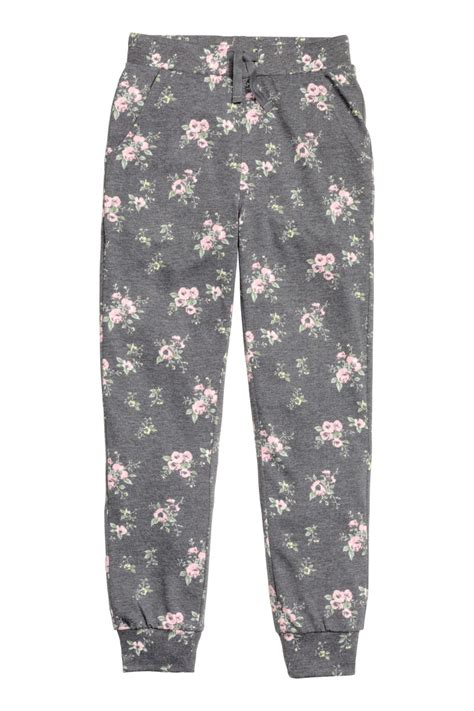 grey patterned joggers joggers dark gray patterned sale h m us