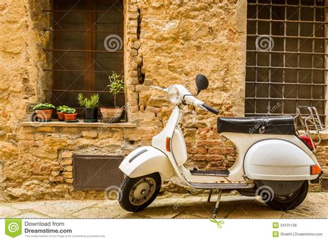 vintage scene photos vintage scene with vespa on old street royalty free stock