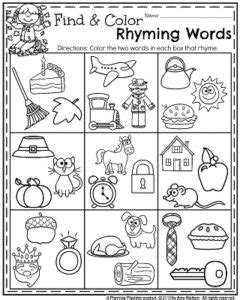 printable language arts games for kindergarten fall kindergarten worksheets for november planning playtime