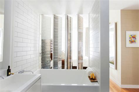 modern white tile bathroom subway tile shower mirrored bathroom partitions modern