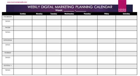 social media planner weekly social media marketing planner free download macmanda media