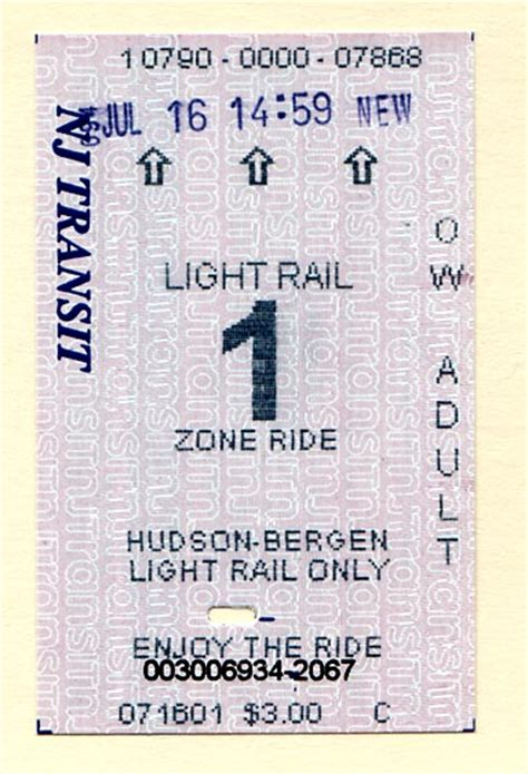 light rail ticket hudson bergen light rail