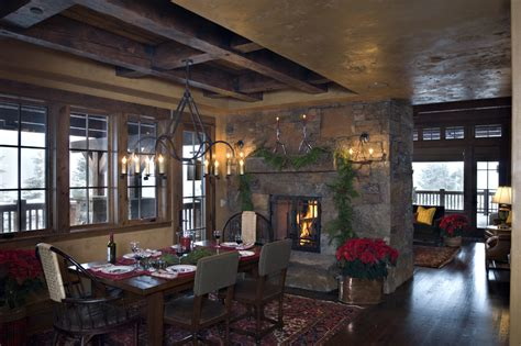 Fieldstone Fireplace two sided fireplaces dining room rustic with area rug