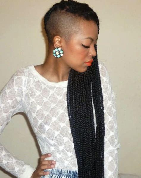 shaved one side of head braids 7 ways to wear box braids this summer found on pinterest