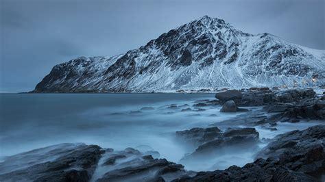 wallpaper landscape mountains sea rock nature snow