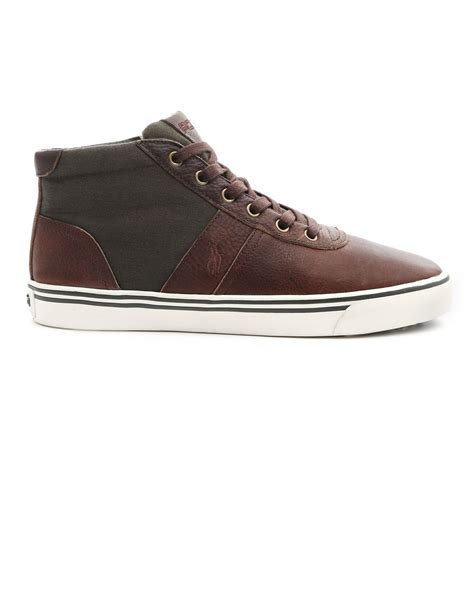 polo leather sneakers polo ralph hanford mid brown leather and canvas