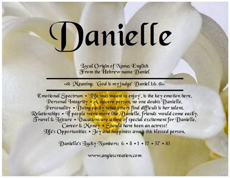 Middle Name Search Angies Creation Search Results For Danielle Meaning Of