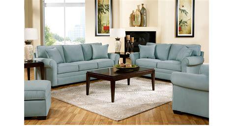 cindy crawford living room furniture bellingham hydra sky light blue blue 2 pc living room