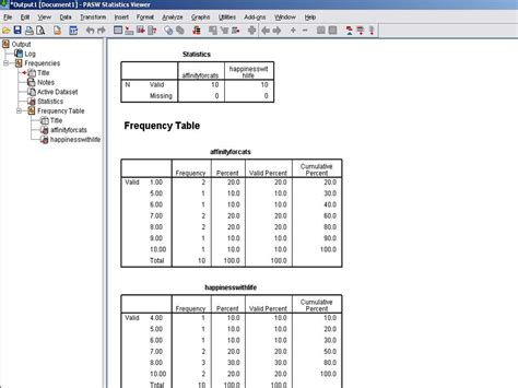 how to create a frequency table with spss predictive
