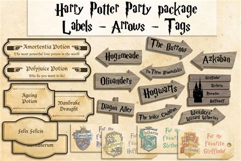 harry potter inspired hogwarts printable name tags harry potter printables party package harry potter party