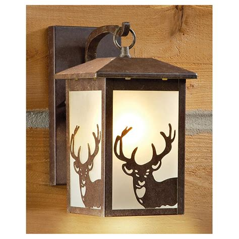 Castlecreek Rustic Outdoor Wall Lantern 225944 Solar Outdoor Deer With Lights