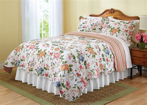 summer bed sheets reversible quilt floral stripe spring summer bed bedding twin full queen king ebay