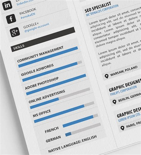 Plantilla De Curriculum Psd plantilla profesional de curriculum vitae psd pdf