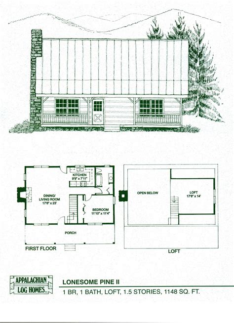one story log cabin floor plans log home package kits log cabin kits lonesome pine ii model