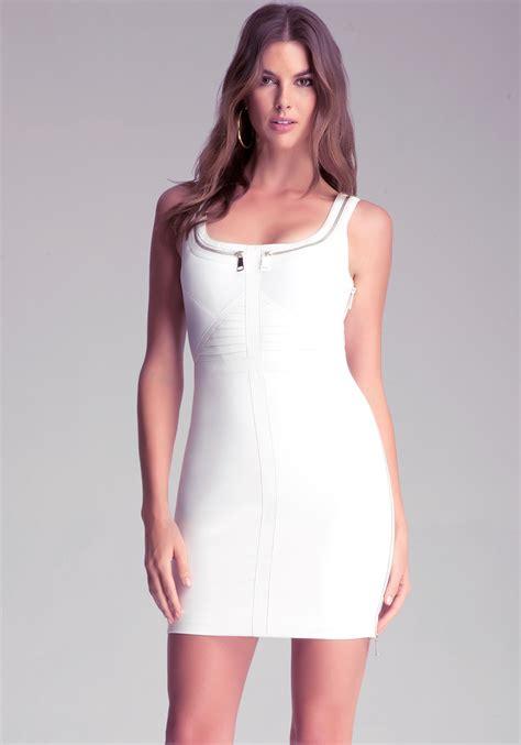 Dress Zipp White Bebe Mixed Fabric Zipper Dress In White Lyst
