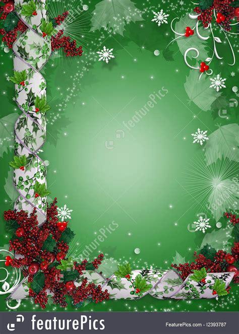 illustration  christmas border ribbons elegant holly