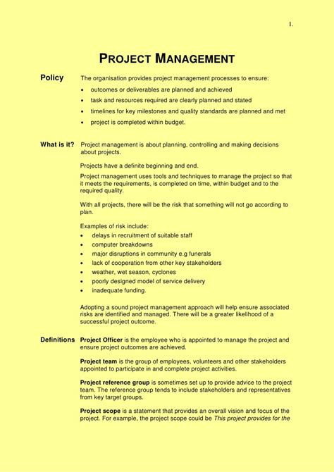 project management summary 2012