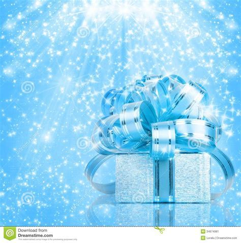 Gift Box In Blue Wrapping Paper Stock Image   Image: 34674981