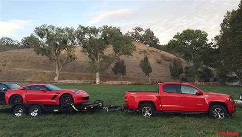 a small motor boat travels 10 mph towing a z06 with the 2016 chevy colorado duramax diesel