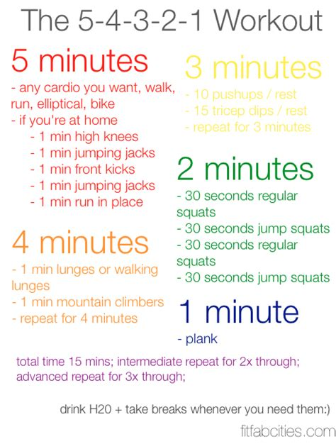 printable 5 4 3 2 1 workout cardio and strength