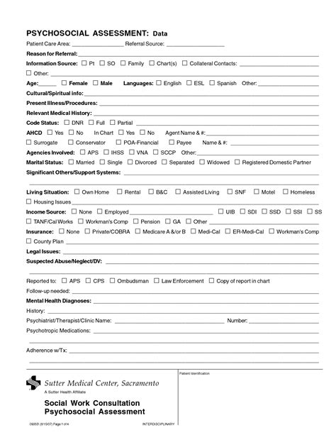 Social Work Assessment Template best photos of social work psychosocial assessment exle