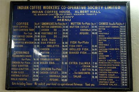 india house menu menu board picture of indian coffee house kolkata
