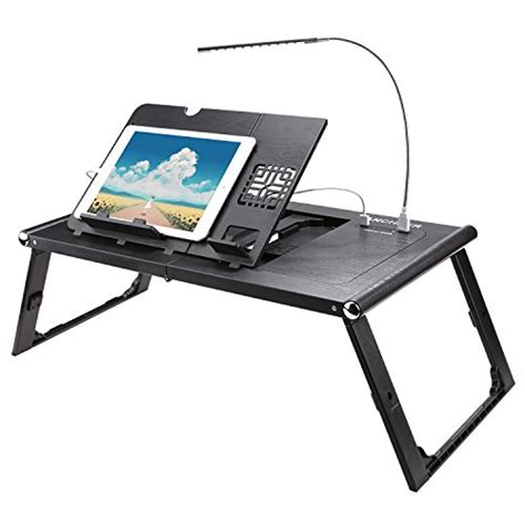 computer desk built in usb ancheer folding adjustable laptop table with built in