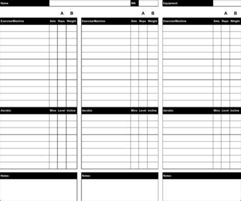workout char template workout chart template for free formtemplate