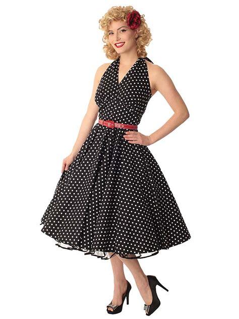 swing style 50 s vintage style polka dot dresses classic dame black