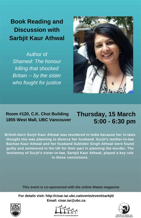 Book Reading And Discussion With Sarbjit Kaur Athwal