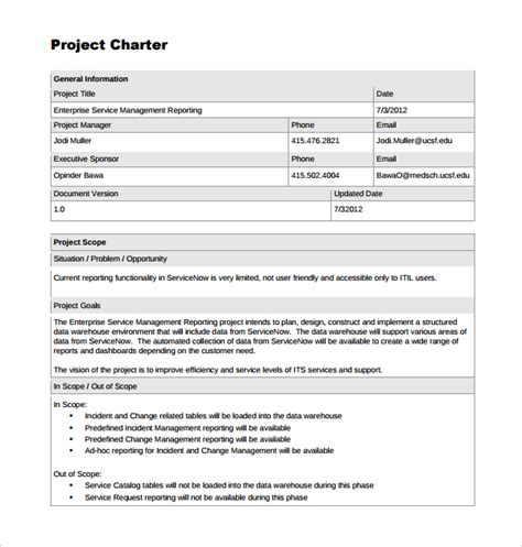 sle project charter template 8 free documents