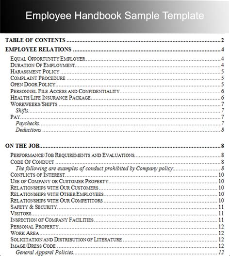 template for handbook employee handbook templates free word document
