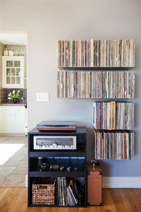 floating record shelves apartment