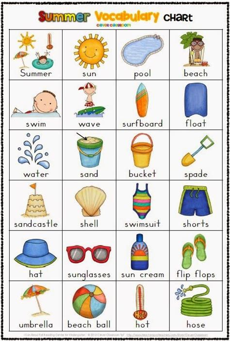 themes for english summer c free summer vocabulary chart helps keep kids writing