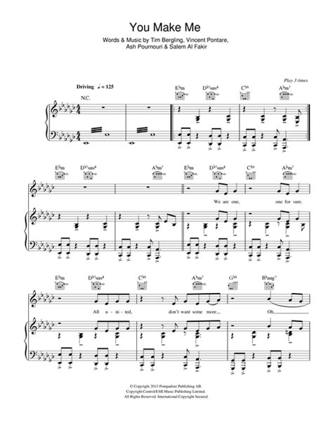 Avicii You Make Me Sheet Music | partition piano you make me de avicii piano voix guitare
