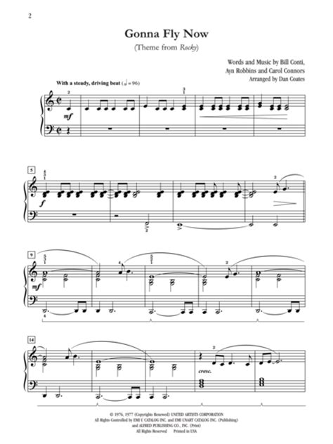 theme music from rocky gonna fly now theme from rocky sheet music by dan coates