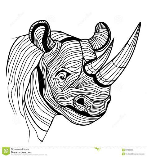 design a logo in sketch rhino rhinoceros animal head stock vector image 33182549