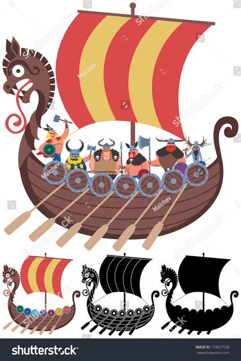 cartoon viking boat images viking ship on white cartoon viking stock vector 173617136