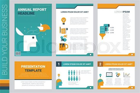 annual report book cover and presentation template with